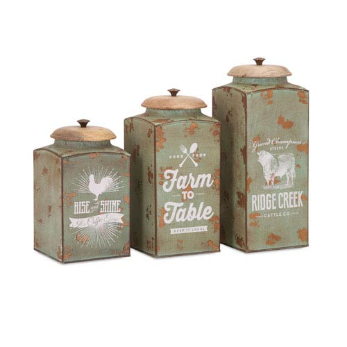 Farmhouse Lidded Canisters , Set of 3