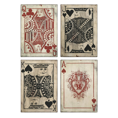 IMAX Leonato Playing Card Wall Decor - Set of 4
