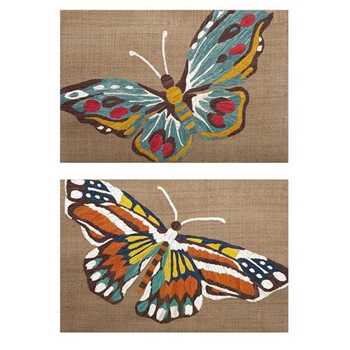IMAX Nerina Embroidered Butterfly Wall Decor, Set Of 2