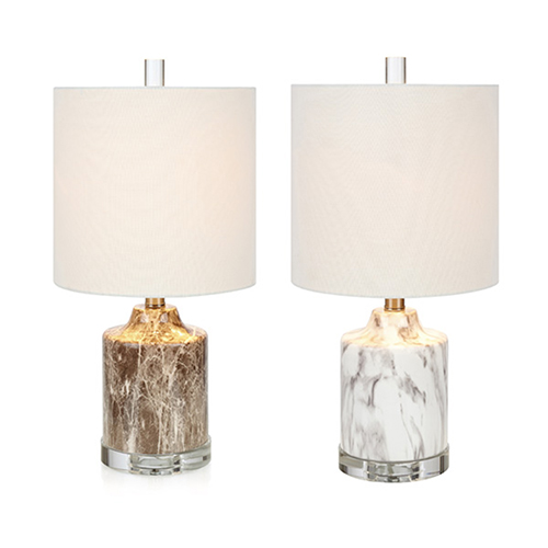 Noidal White And Brown Faux Marble One-Light Table Lamp, Set of 2