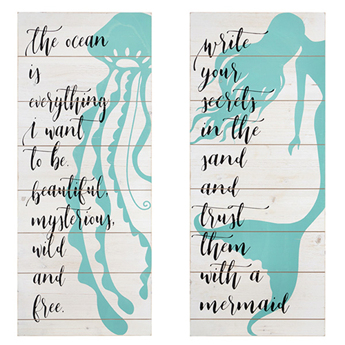 Mermaid Life White Wall Décor, Set of 2