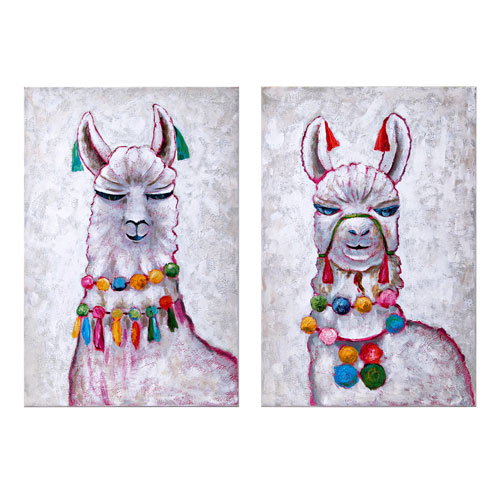 IMAX Llama Party Oil Painting, Set of 2