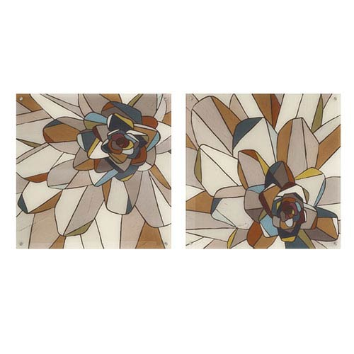 Stained Glass Floral Acrylic Floating Wall Art, Set of 2