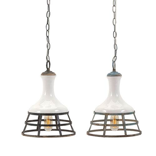 Sandra Ceramic and Metal Pendant Lights, Set of 2