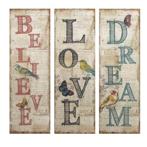 IMAX Viscaria Dream Believe Love Wall Decor, Set of 3