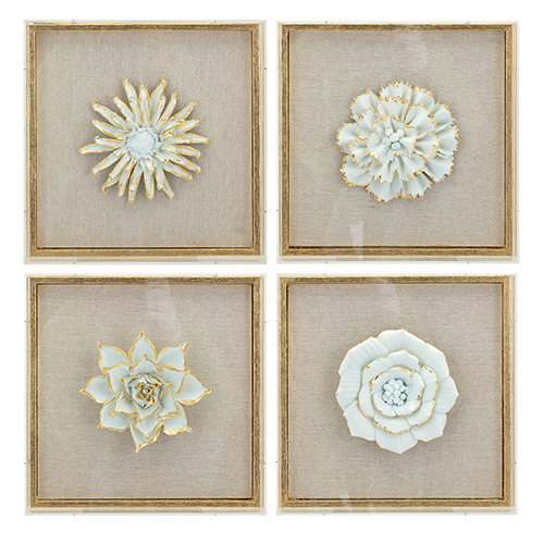 Imax Nadia Gray Porcelain Flower Wall Décor Set Of 4