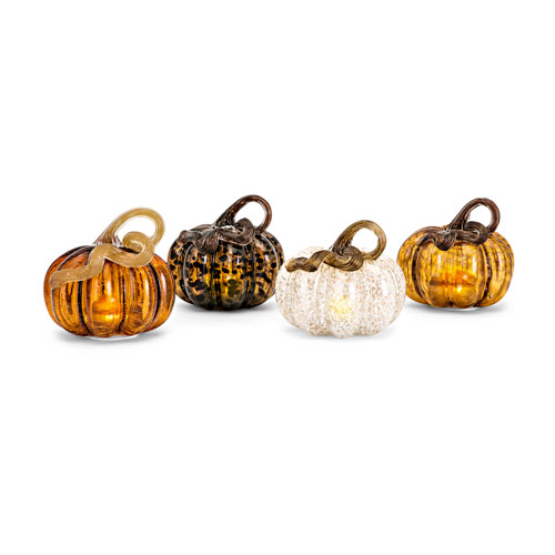 Small Glass LED Pumpkin, Set of 4