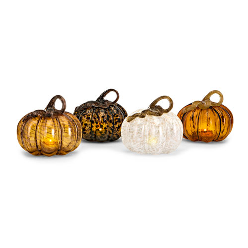 Medium Glass LED Pumpkin, Set of 4