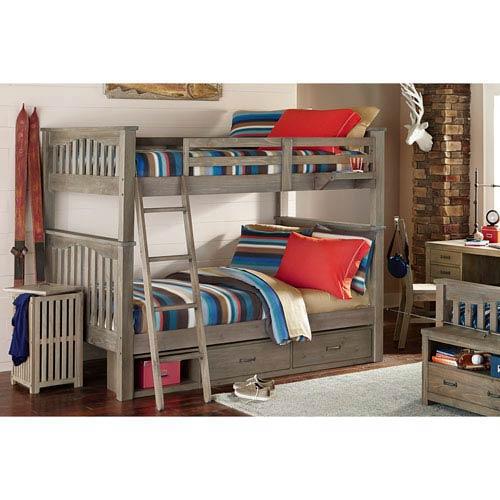 NE Kids Highlands Driftwood Harper Full Bunk Bed with Storage Driftwood