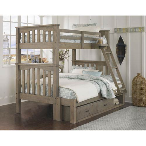 Highlands Driftwood Harper Twin Over Full Bunk Bed with Storage