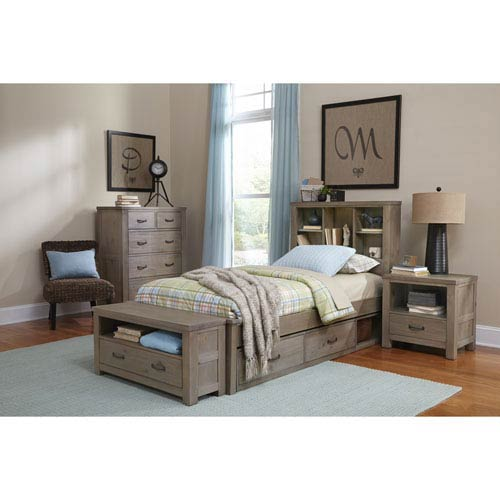 Highlands Driftwood Twin Bookcase Bed with Storage