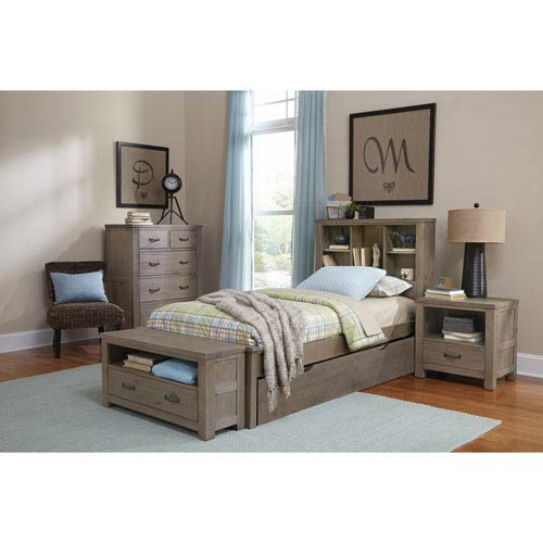 Highlands Driftwood Twin Bookcase Bed with Trundle