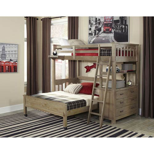 Highlands Driftwood Twin Loft Bed with Full Lower Bed