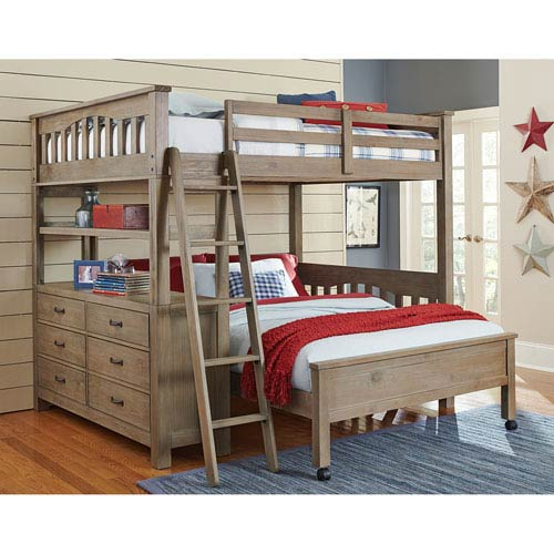 Highlands Driftwood Full Loft Bed with Full Lower Bed