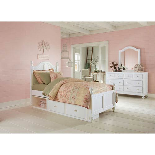 Lake House White Payton Arch Twin Bed with Storage