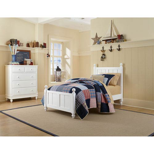 Lake House White Twin Kennedy Panel Bed