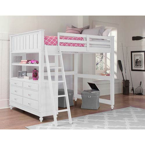 Ne Kids Lake House White Twin Loft Bed