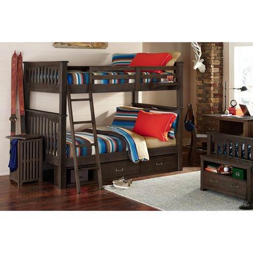 NE Kids Highlands Espresso Harper Full Bunk Bed with Storage