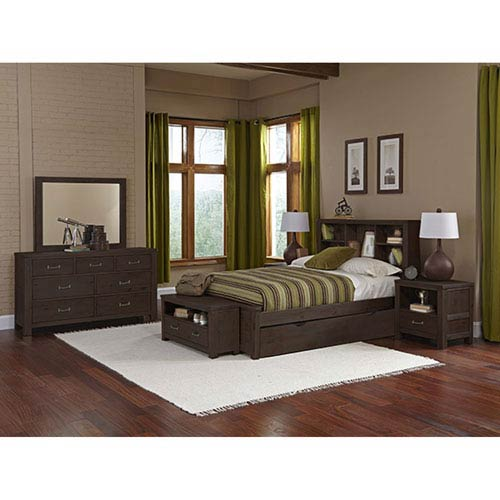 Highlands Espresso Full Bookcase Bed with Trundle