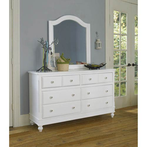 Lake House White 8 Drawer Dresser with Mirror