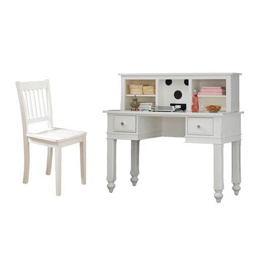 Lake House White Writing Desk with Hutch and Chair