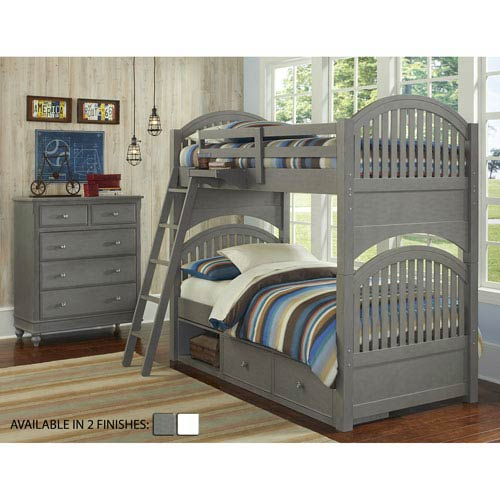 Lake House Stone Adrian Twin Bunk Bed with Storage