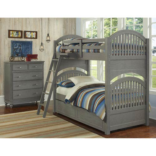 Lake House Stone Adrian Twin Bunk Bed with Trundle