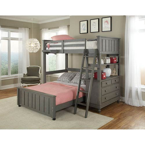 Lake House Stone Twin Loft with Full Lower Bed