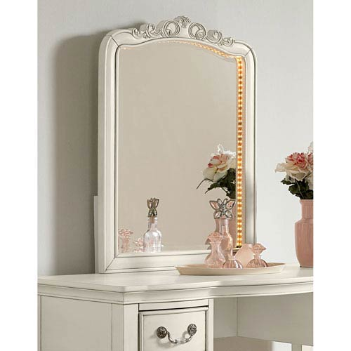 Kensington Antique White Lighted Dressing Mirror