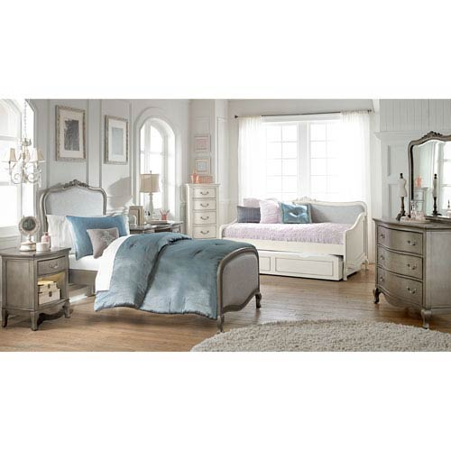 Kensington Antique Silver Twin Katherine Upholstered Panel Bed