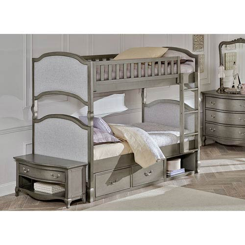 NE Kids Kensington Antique Silver Victoria Twin Bunk Bed with Storage