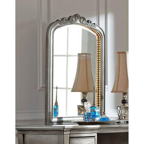 Kensington Antique Silver Lighted Dressing Mirror