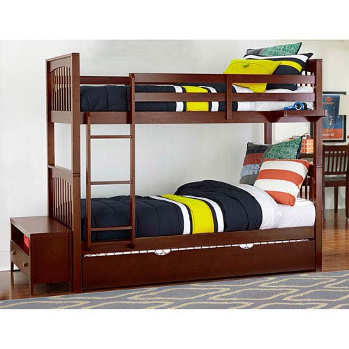Pulse Cherry Twin Bunk Bed with Trundle