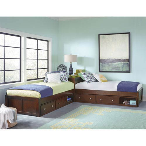 Pulse Cherry L-Shaped Bed with Double Storage