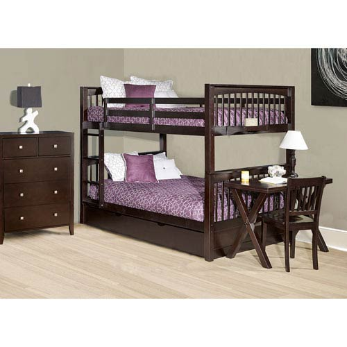 NE Kids Pulse Chocolate Full Bunk Bed with Trundle