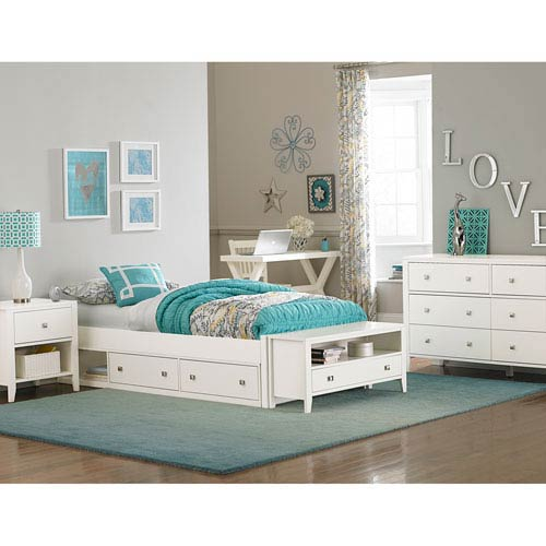 Pulse White Full Platform Bed with Storage