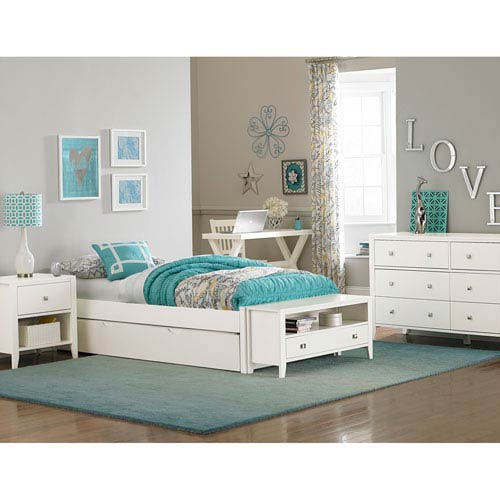 Pulse White Full Platform Bed with Trundle