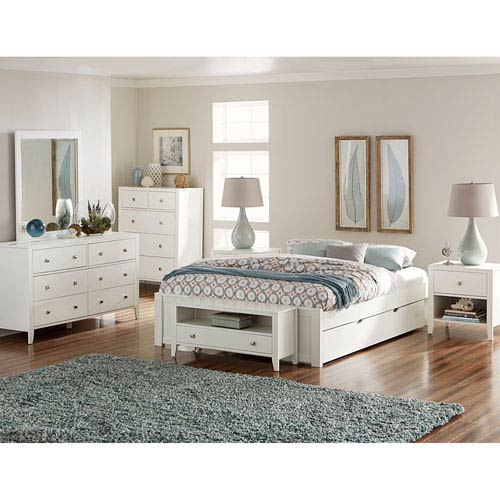 Pulse White Queen Platform Bed with Trundle