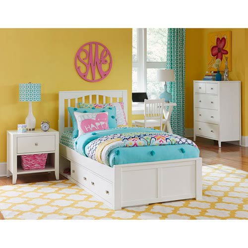 NE Kids Pulse White Twin Mission Bed with Storage