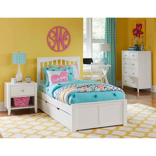 NE Kids Pulse White Full Mission Bed with Trundle
