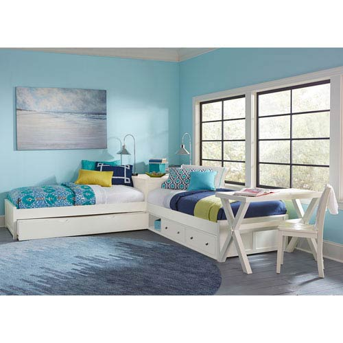 NE Kids Pulse White L-Shaped Bed with Storage and Trundle