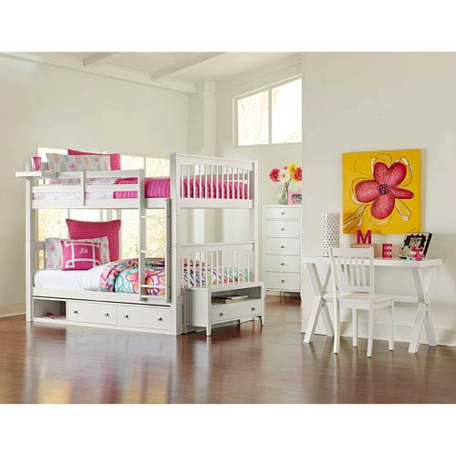 NE Kids Pulse White Full Bunk Bed with Storage