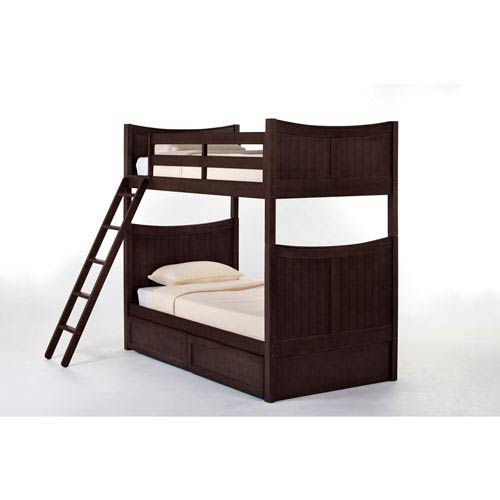 School House Chocolate Taylor Twin Bunk Bed with Storage
