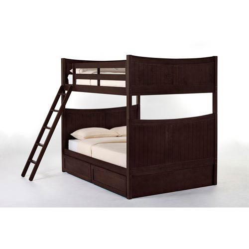 NE Kids School House Chocolate Taylor Full Size Bunk Bed With Storage