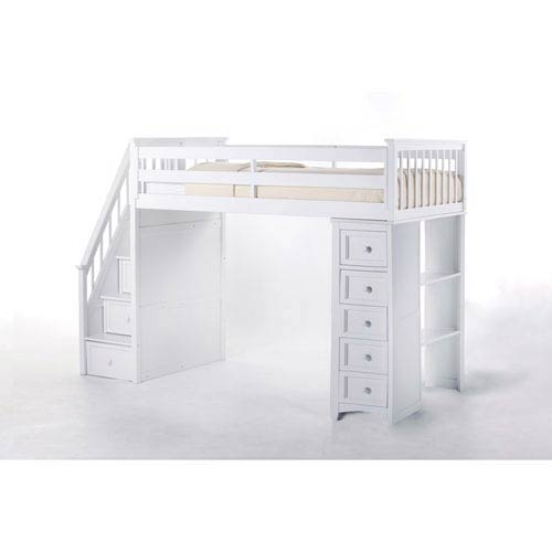 School House White Stair Loft Twin Bed with Chest End