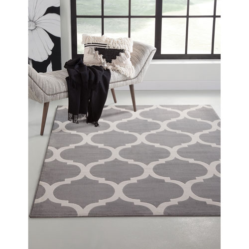 Broadway Grey and Ivory Rectangular: 5 Ft. 3 In. x 7 Ft. 6 In.  Rug