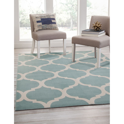 Broadway Teal and Gray Rectangular: 5 Ft. 3 In. x 7 Ft. 6 In.  Rug