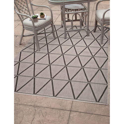Abacasa Veranda Charcoal and Grey Rectangular: 5 Ft. 3 In. x 7 Ft. 6 In.  Rug