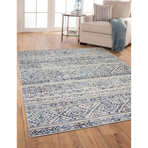 Abacasa Essentials Ivory and Blue Rectangular: 5 Ft. 3 In. x 7 Ft. 6 In.  Rug