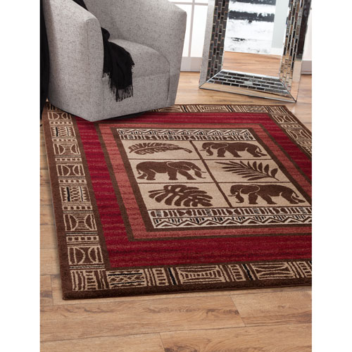 Ava Red and Brown Rectangular: 5 Ft. 3 In. x 7 Ft. 6 In.  Rug